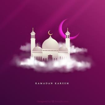 Fond de ramadan avec la silhouette de la mosquée