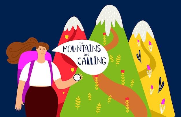 Fond de randonnée. montagnes et fille, concept d'alpinisme