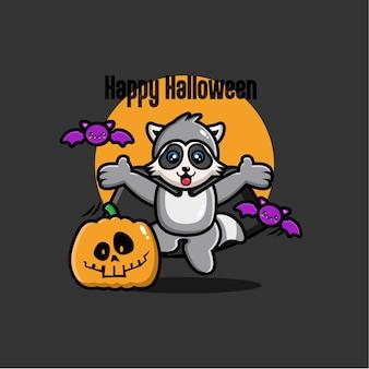 Fond de raton laveur halloween au design plat