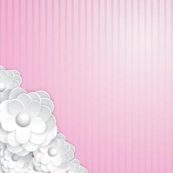 Fond rayé rose avec des fleurs en papier blanc