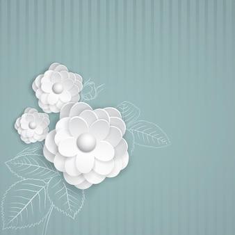 Fond rayé turquoise avec des fleurs en papier blanc