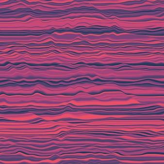 Fond rayé de vecteur. vagues de couleur abstraites. oscillation des ondes sonores. lignes bouclées géniales. texture ondulée élégante. distorsion de surface. fond coloré.