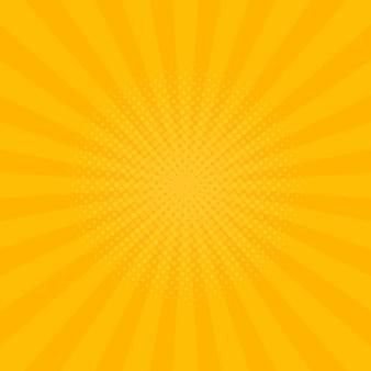 Fond de rayons jaune vif. bandes dessinées, style pop art. illustration vectorielle.