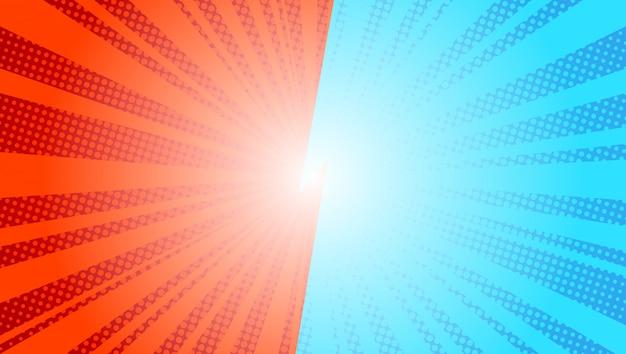 Fond de rayons de soleil bleu comique