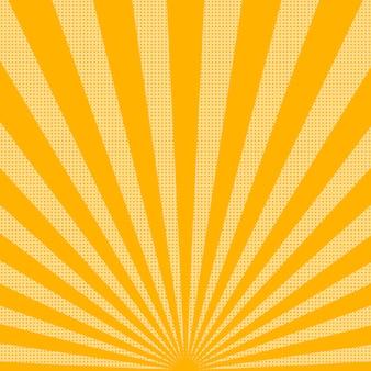 Fond de rayons de soleil lumineux avec des points. abstrait avec des points de demi-teintes. illustration