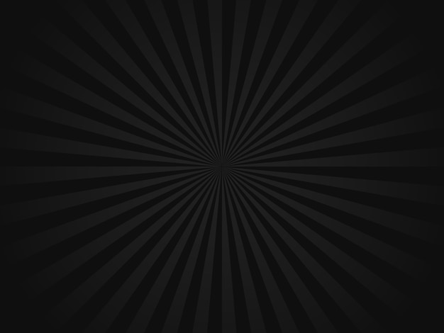 Fond de rayons de soleil rétro noir
