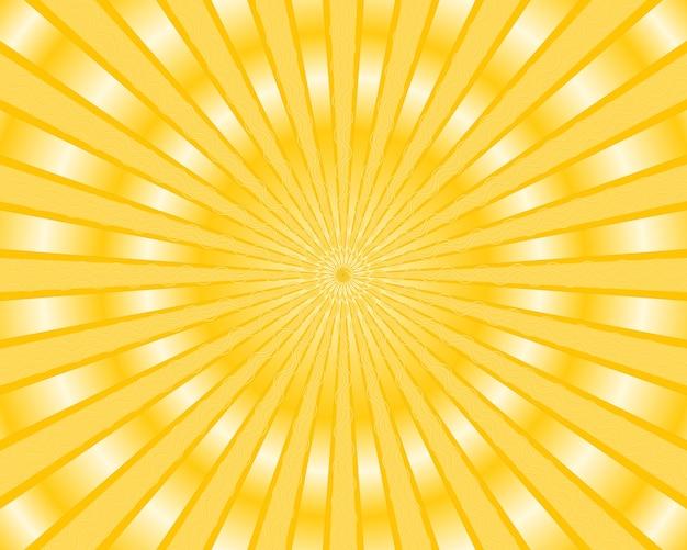 Fond de rayures jaunes avec des rayons dorés