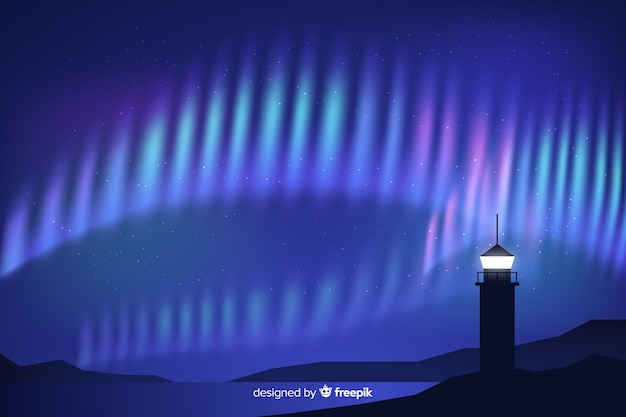 Fond réaliste d'aurores boréales