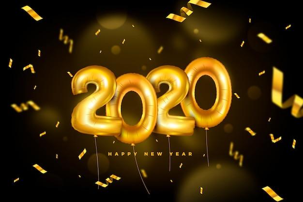 Fond réaliste de ballons du nouvel an 2020