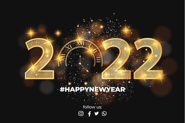Fond réaliste de bonne année 2022 avec des numéros de texture dorée
