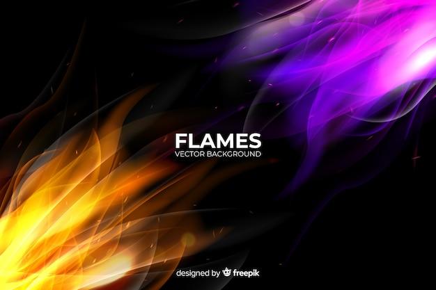 Fond réaliste de flammes colorées