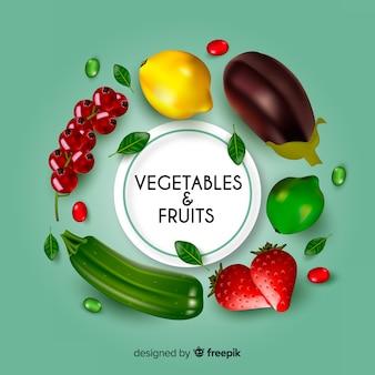 Fond réaliste de fruits et légumes