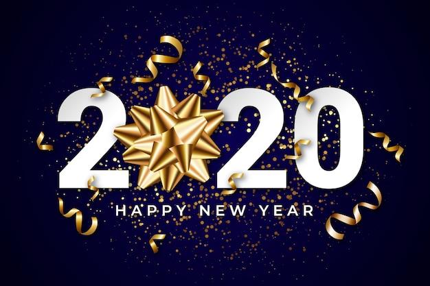 Fond réaliste de nouvel an 2020 avec noeud cadeau doré