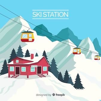 Fond réaliste de la station de ski