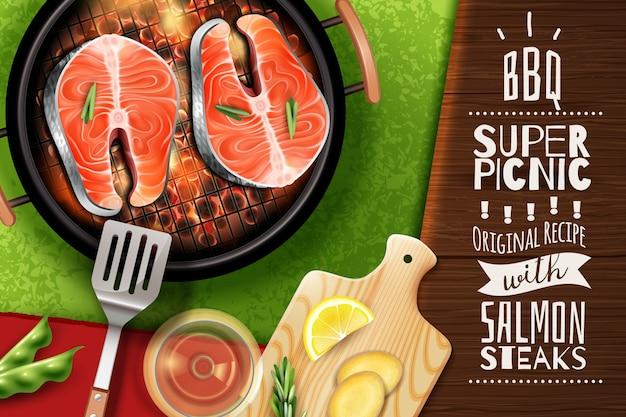 Fond réaliste avec steak de saumon grillé