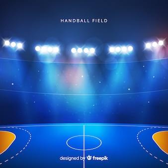 Fond réaliste de terrain de handball