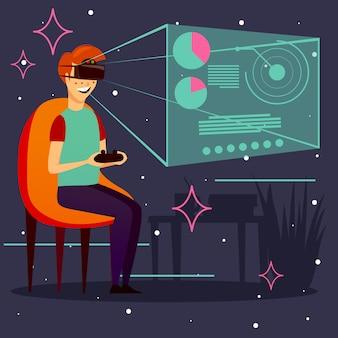 Fond de réalité virtuelle de jeu d'ordinateur