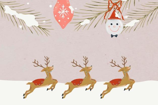 Fond de renne de noël, vecteur d'illustration de modèle de vacances d'hiver mignon