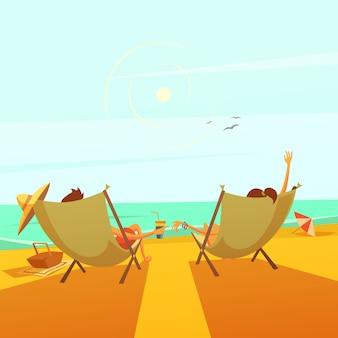 Fond de repos de plage avec un couple dans des chaises longues en mer