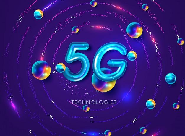 Fond de réseau de connexion internet sans fil 5g