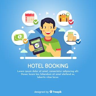 Fond de réservation d'hôtel garçon heureux