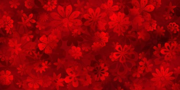 Fond de ressort de diverses fleurs dans des couleurs rouges