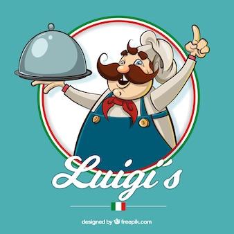 Fond de restaurant avec chef italien dessiné à la main
