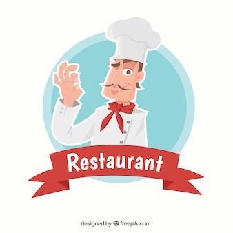 Fond de restaurant avec chef magnifique
