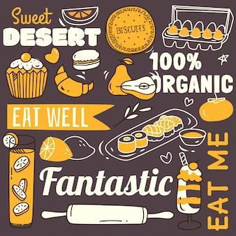 Fond de restaurant avec divers aliments dans un style doodle.