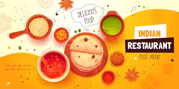 Fond de restaurant indien de dessin animé