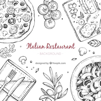 Fond de restaurant italien dessiné à la main