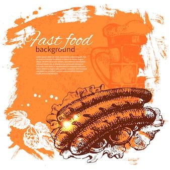 Fond de restauration rapide vintage. illustration dessinée à la main. conception de menus