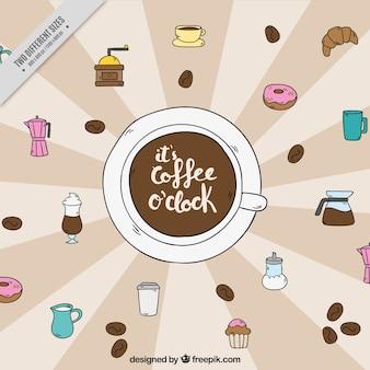 Fond rétro avec des bonbons et des éléments de café dessinés à la main