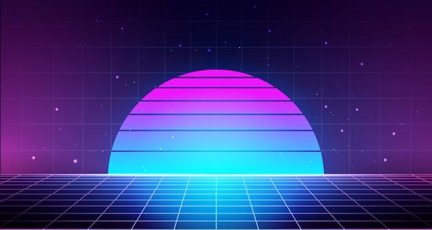 Fond rétro avec grille laser, paysage abstrait avec coucher de soleil et ciel étoilé.