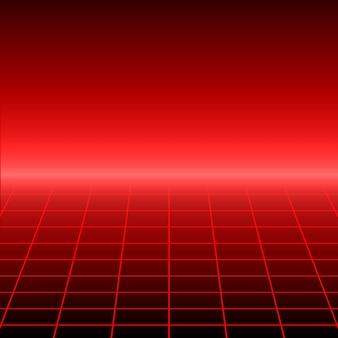 Fond rétro avec grille de perspective.