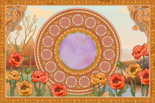 Fond rétro et romantique avec art de la mosaïque, fleur de pavot et éléments de cadre floral