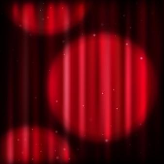 Fond avec rideau rouge et spot lumineux. fichier inclus