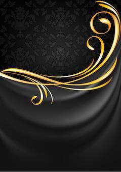 Fond de rideau en tissu gris foncé. vignette or