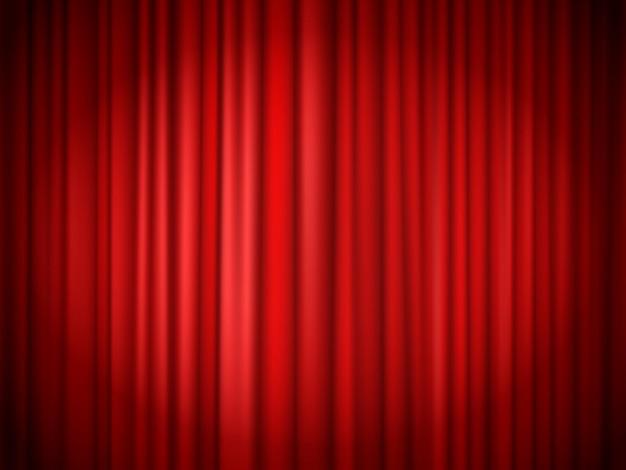 Fond de rideaux rouges. rideau rouge sur scène pour le spectacle, textile de présentation en velours, intérieur élégant de théâtre de concert. illustration vectorielle