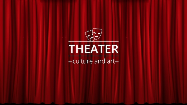 Fond avec des rideaux de théâtre rouges fermés.