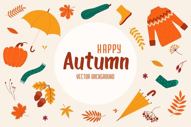 Fond rond avec des éléments d'automne et l'inscription heureux automne illustration vectorielle plane