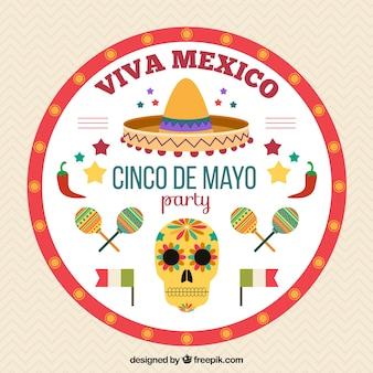 Fond rond avec des objets mexicains pour cinq mai