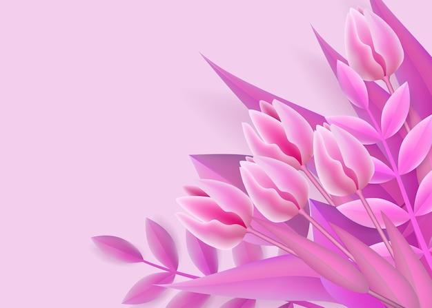 Fond rose avec bouquet de fleurs dégradé en maille