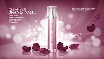 Fond rose brillant avec des produits cosmétiques hydratants