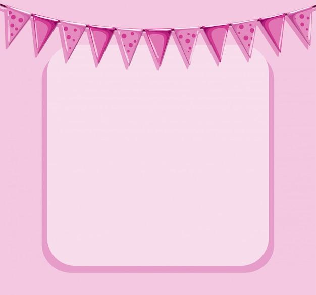 Fond rose avec cadre et drapeaux