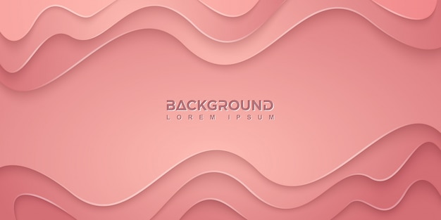 Fond rose avec des formes ondulées dans un style 3d.