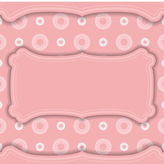 Fond rose avec motif blanc abstrait et espace pour votre logo
