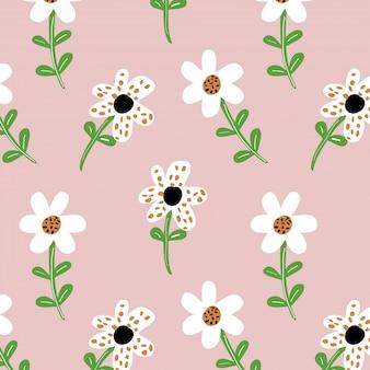 Fond rose avec motif floral