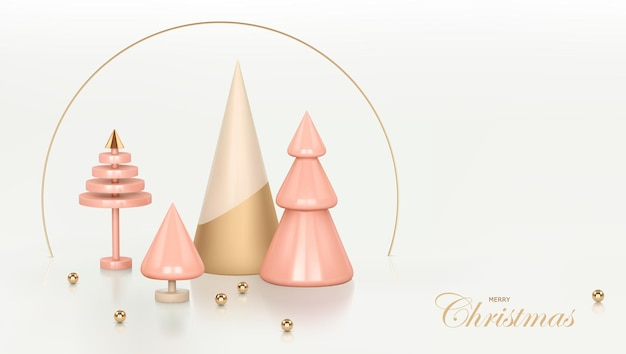 Fond rose de noël et du nouvel an. rendu 3d abstrait décoration de concept de scène d'arbre de noël