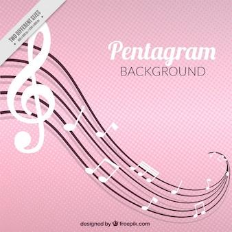 Fond rose avec des notes de musique blancs et ondulés douelle